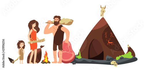 Photo  Cartoon caveman family