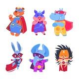 Fototapeta Fototapety na ścianę do pokoju dziecięcego - Superhero animals. Baby superheroes vector characters set