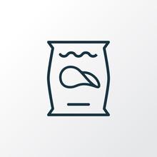 Potato Chips Icon Line Symbol. Premium Quality Isolated Crisp Element In Trendy Style.