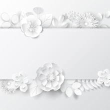 Paper Art Flowers Background. Vector Stock.