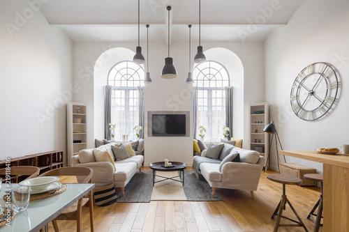 Obraz Contemporary living room with tv - fototapety do salonu