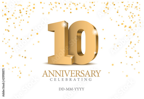Canvas Print Anniversary 10. gold 3d numbers.