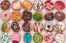 Rows Of Tasty Doughnuts In A Box