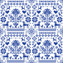 Retro Traditional Cross-stitch Vector Seamless Pattern - Repetitive Background Inspired German Old Style Embroidery With Flowers And Animals