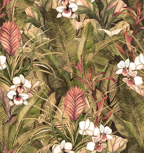 wzor-z-tropikalnych-lisci-i-kwiatow-orchidei-utrzymany-w-stylu-retro