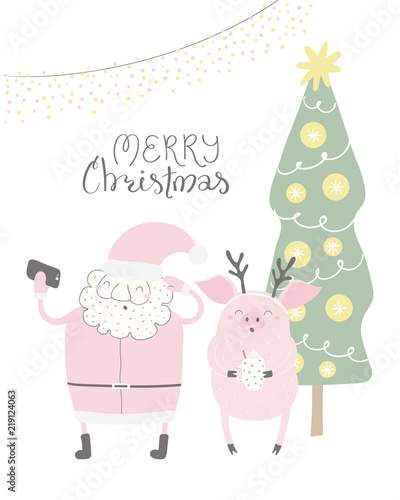 Spoed Fotobehang Illustraties Hand drawn vector illustration of a cute funny Santa Claus, pig taking selfie, with quote Merry Christmas. Isolated objects on white background. Flat style design. Concept for Christmas card, invite.
