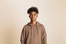 Portrait Of A Young Afro American Man Dressed In Hoodie