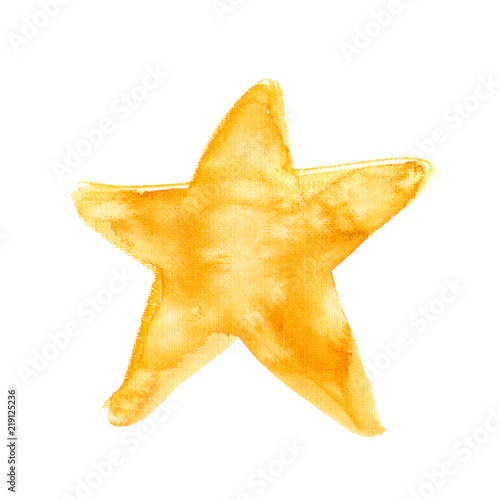 Obraz Simple abstract golden star painted in watercolor on clean white background. Illustration with rough canvas texture - fototapety do salonu