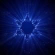 Shiny Star of David shape of LED dots on monitor