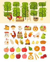 Apple Season At Farm Garden. Vector Icons Of Most Common Tools, Containers And Animals At Harvest Time