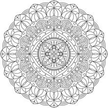 Mandala Ornament, Vector Illustration. Line Mandala. Adult Mandala Coloring Page.