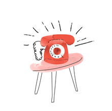 Red Retro Phone Ringing. Vector Illustration Of Ringing Telephone. Answering The Phone. Social Media Watercolor Illustration.