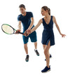 Young woman learns to play tennis with a male coach. Racket grip and other basic skills. Full-length portrait on white.