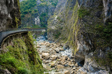 View Of Taroko Gorge And Cliff Side Pathway Of Yanzihkou Hiking Trail In Taroko Gorge National Park Hualien Taiwan