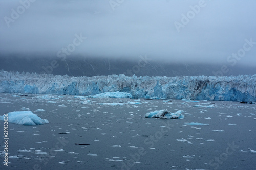 In de dag Pinguin Blue Ice of Columbia Glacier in Prince William Sound
