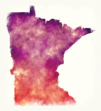 Minnesota State USA Watercolor Map In Front Of A White Background