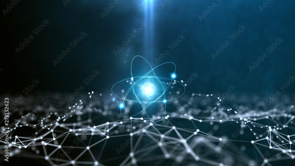 Fototapeta Abstract polygonal space background with connecting dots and lines. Abstract atom from particles.