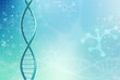 Concept of biochemistry with dna molecule on color background. Science concept background.