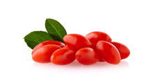 Berry Goji With Leaf Isolated