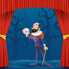 Actor Man Medieval Suit Tragic Theater Curtains Stage Cartoon Character Design Vector Illustration