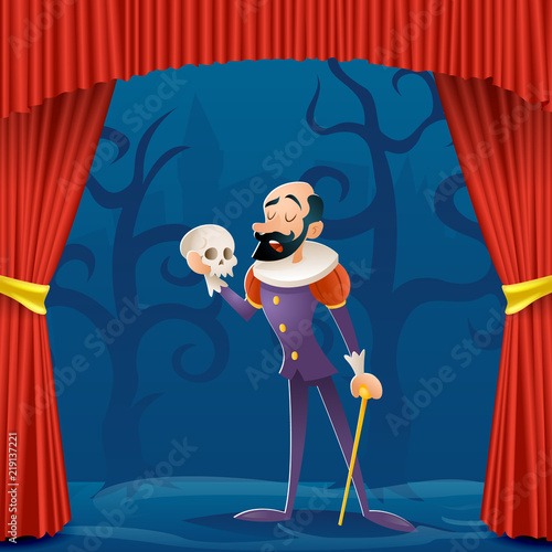 Actor man medieval suit tragic theater curtains stage cartoon character design v Canvas Print