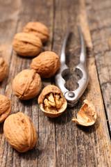 walnut on wood background