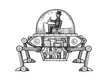 Steam Engine Car Engraving Vec...