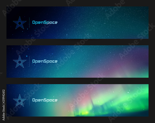 Fototapeta Set of horizontal banners with beautiful starry sky and Northern lights. Vector illustration with aurora borealis. Abstract colorful headers for website obraz