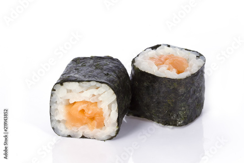 Printed kitchen splashbacks Sushi bar Sushi rolls japanese food isolated on white background.Menu of the Japanese restaurant. Traditional rolls with seaweed and a variety of fillings