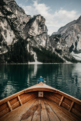 Panel Szklany Eko Ausschnitt eines Ruderboots am Pragser Wildsee