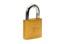 Close Padlock With Wite Background