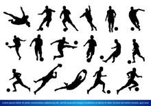A Set Of Soccer Players Silhou...
