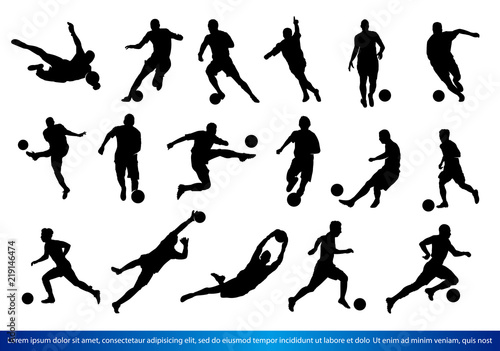 Obraz na plátně A set of Soccer players Silhouettes