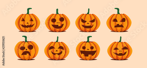 Halloween pumpkins in vector with set of different faces for icons and decorations in bright background Canvas Print