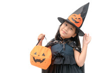 Funny Child Girl In Witch Costume For Halloween