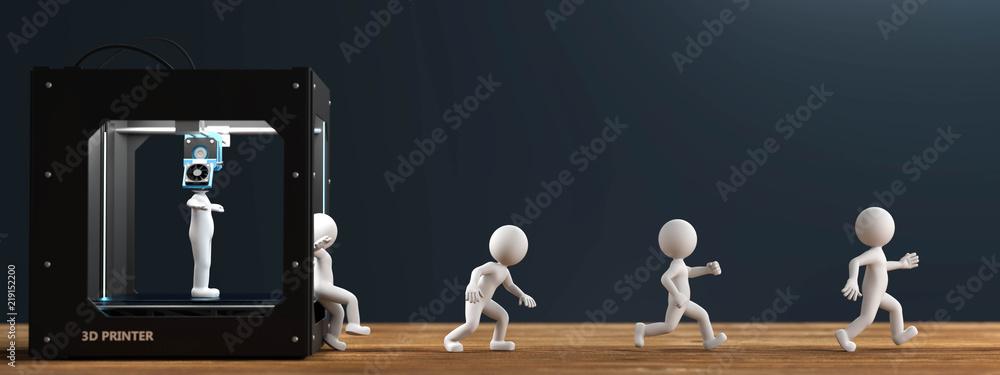 Fototapety, obrazy: 3D Drucker weisse Männchen