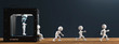 canvas print picture - 3D Drucker weisse Männchen