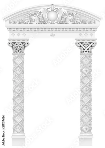 Antique white colonnade with old Ionic columns Fototapet