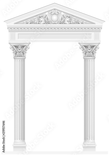 Photo  Antique white colonnade with old Ionic columns
