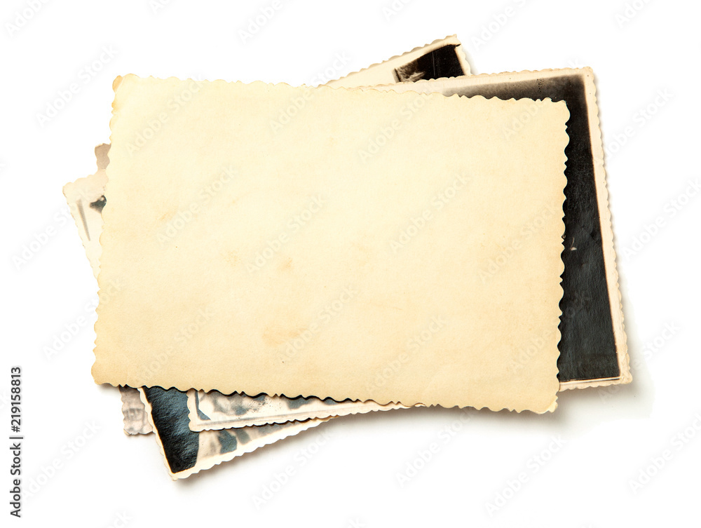 Fototapety, obrazy: Stack old photos isolated on white background. Mock-up blank paper. Postcard rumpled