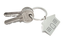 Keys And Home Key Ring Isolated On White Background. Concept Of Buying House