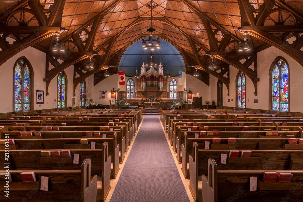 Fototapety, obrazy: Central United Church of Lunenburg, Nova Scotia