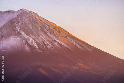 Canvas Prints Red Closeup Fuji mountain at sunset. Mt. Fujisan is one of the landmark and symbol of Japan.