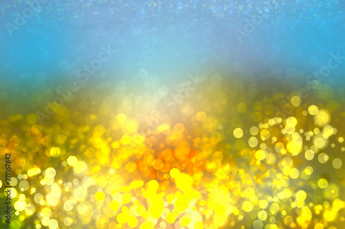 Foto op Canvas Luchtsport Abstract yellow lightening bokeh circles from unterwater bubbles. Beautiful yellow illustration.