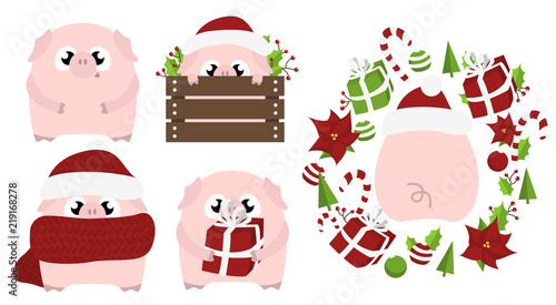Set Of 5 Chinese Symbol Of The 2019 Year Pig With Different Emotions