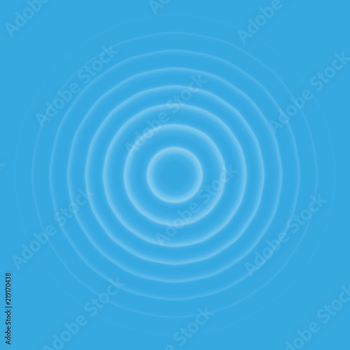 Ripple effect top view. Transparent Water drop rings. Circle sound wave isolated on blue background. Wall mural