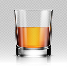 Glass Of Whiskey Isolated Real...