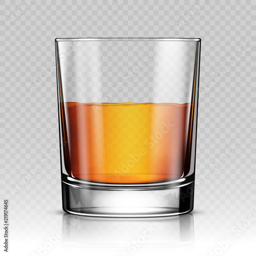 Glass of whiskey isolated realistic vector illustration