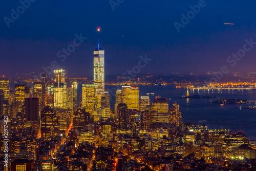 Fotografia  New York Downtown Skyline After Dark
