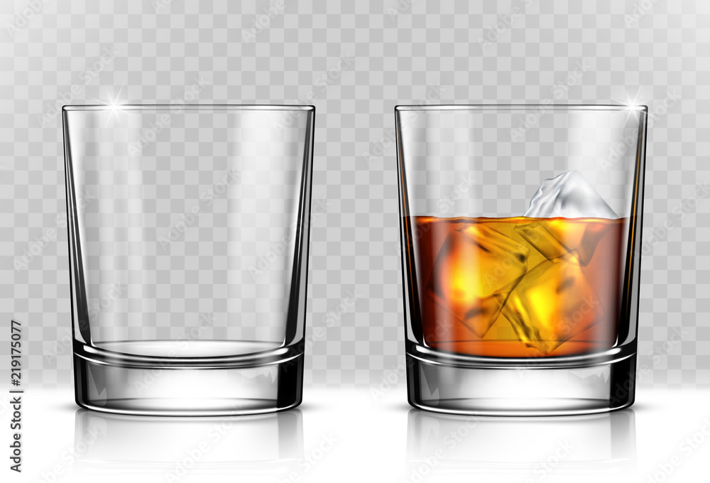 Fototapeta Glass of scotch whiskey and ice on transparent background